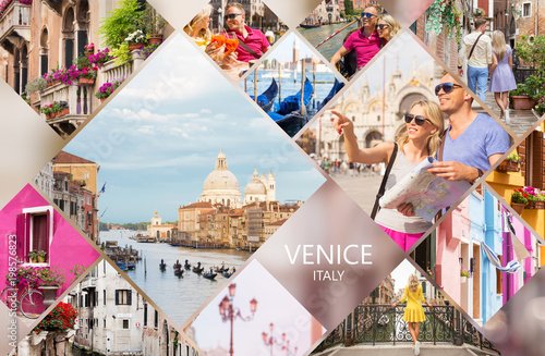 Venice postcard, set of different travel photos from famous Italian city