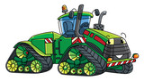 Funny big tractor with eyes.