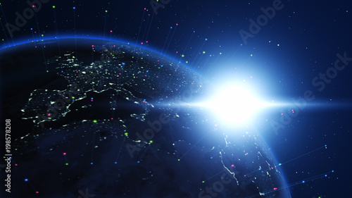 Shiny blue earth with colorful 3d lines and letters around. Technology and global network concept. - 198578208