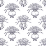 Vector Seamless pattern. Lavender theme of Provence. Pattern with graphic lavender flowers in pot. Digital drawn illustration in lilac color. Vintage pattern of lavender flowers isolated on white.