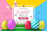 Easter Sale Illustration with Color Painted Egg and Typography Element on Abstract Background. Vector Holiday Design Template for Coupon, Banner, Voucher or Promotional Poster