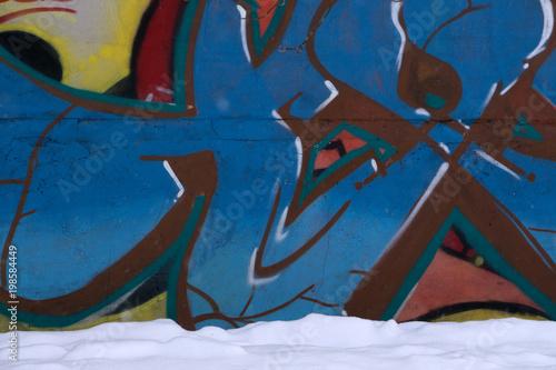 Fotobehang Graffiti Graffiti on a wall red scribble signature skate,