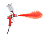 Professional paint gun isolated on white background. 3D illustration - 198586014