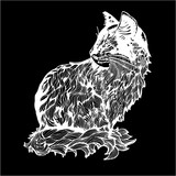 Illustration of a cat made of branches and leaves. Black and white drawing of a cat in profile. Chalk on a blackboard.