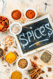 Set of various spices on light concrete background. Copy space. - 198590653