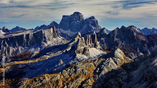 Fotobehang Nachtblauw Passo Falzarego, Dolomites, Italy - view from the top of the Rifugio Lagazuoi