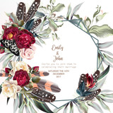 Beautiful wedding invitation card or save the date with boho roses, leafs and plants - 198605608