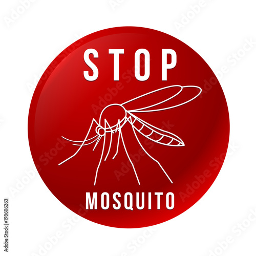 Red circle banner with Stop mosquito text and line border mosquito sign vector design - 198606263