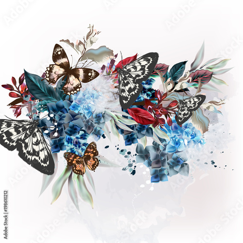 Foto op Aluminium Vlinders in Grunge Butterfly design illustration in vintage floral style