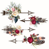 Set of vector boho arrows with roses and feathers for design - 198611458