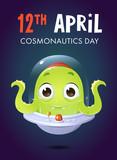 vector cartoon style 12 april cosmonautics day alien greeting card illustration