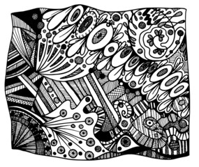 abstract black and white zentangle