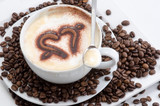 Good Morning: Close up white coffee cup on wood tab / Cup of latte art coffee with coffee beans :) - 198619243