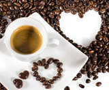 Good Morning: Cup of latte art coffee with coffee beans :) - 198619649