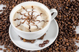 Good Morning: Cup of latte art coffee with coffee beans :) - 198619819