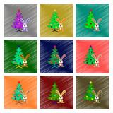 assembly flat shading style illustration Christmas tree Rabbit