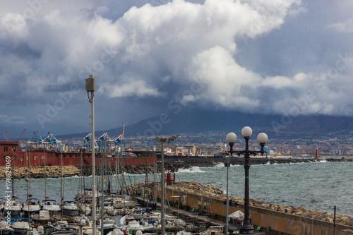 Fotobehang Napels Naples bay and marina in Italy