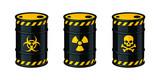 Barrels of waste vector illustration. Biohazard waste, Radioactive waste, Toxic waste. - 198624253