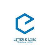 hexagon letter e logo, vector icons.