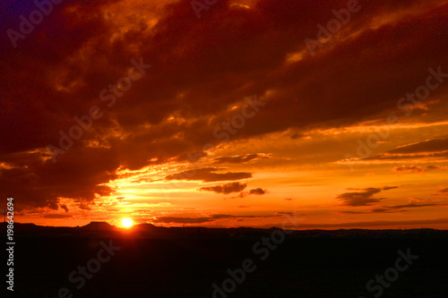 Fotobehang Bruin Sonnenuntergang - Abendrot