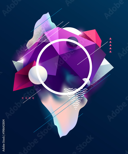 Abstract poster design with polygonal elements