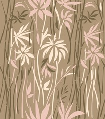 Pattern of bamboo thickets of pink leaves  and brown branches on a light brown background