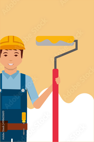 construction worker character holding paint roller vector illustration