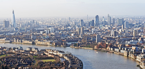 A view of London, England with the River Thames running through it.