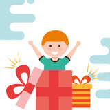 cute little boy surprise gift box coming out vector illustration