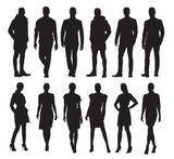 Business men and women in different poses, set of vector silhouettes. Adult people in formal dress at work
