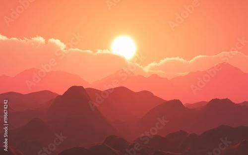 Fotobehang Koraal 3D mountain landscape against sunset sky