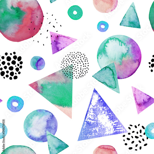 Abstract drawing of geometric elements with watercolor, ink, doodle textures on background. - 198676458
