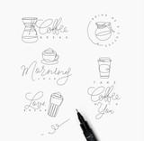 Coffee pen line elements - 198676827