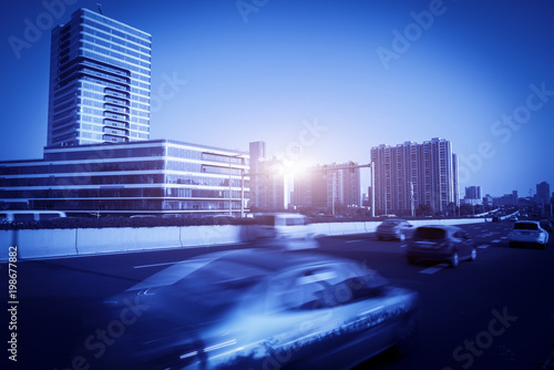 Foto op Plexiglas Peking Blue faded urban fuzzy traffic