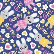 Seamless pattern with cute bunny girl, flowers, and love shape on blue background vector cartoon suitable for kid birthday wallpaper design, scrap paper and kid fabric clothes background - 198681071