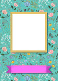 Floral frame for picture with banner for text - 198687826