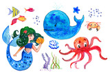 Sealife children watercolor hand drawn stylized isolated set wit