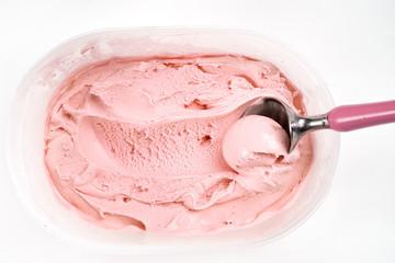 Top view of raspberry ice cream in plastic box