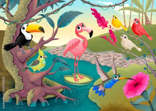 Aluminium Kinderkamer Group of funny tropical birds in the jungle