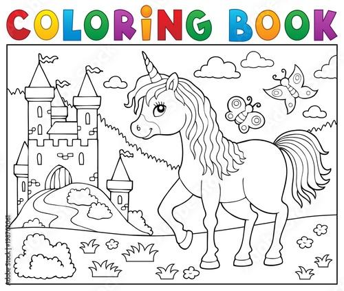 Poster Voor kinderen Coloring book happy unicorn topic 2