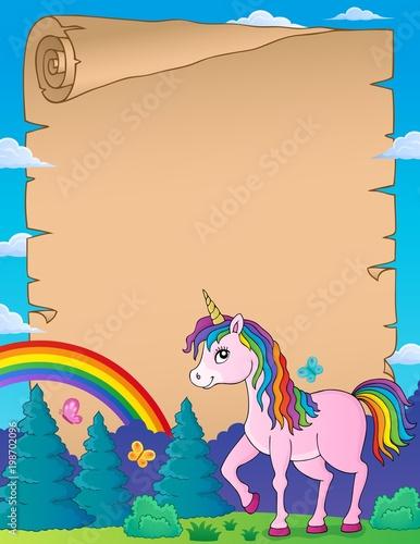 Poster Voor kinderen Happy unicorn topic parchment 3