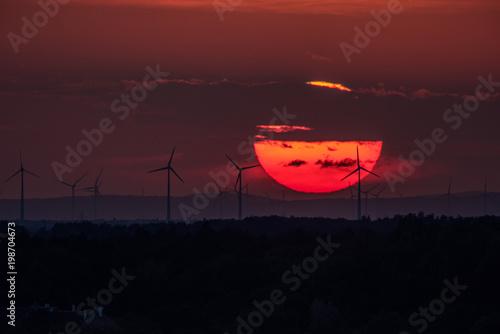 Foto op Aluminium Bordeaux Wind farm of wind turbines
