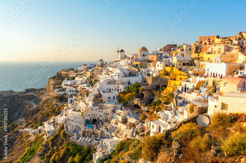 view on Oia on Santorini island during sunset, Cyclades, Greece
