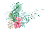 Abstract treble clef decorated with summer and spring flowers, notes. Hand drawn vector illustration. - 198711664
