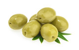 Green olives isolated on white background - 198718499