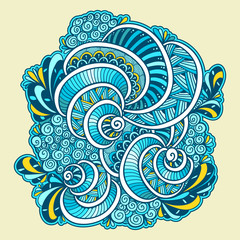 Abstract Zen tangle Zen doodle marine composition from shells blue orange white for template of coloring page or adult coloring books or for decoration T shirt or for print and others