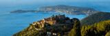 The Village of Eze (Èze), the Mediterranean Sea and Saint-Jean-Cap-Ferrat at sunrise. Alpes-Maritimes, French Riviera, Cote d'Azur, France
