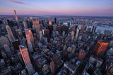 Aerial view of Midtown Manhattan skyscrapers at Sunset, Murray Hill, New York City - 198726291