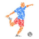 Footballeur Abstrait Cercles Bleu/Rouge