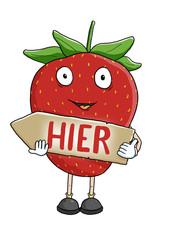 Erdbeere mit Wegweiser links